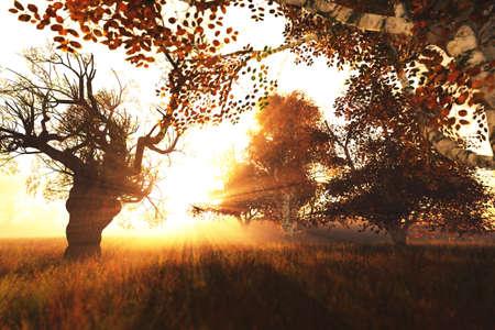 Beautiful Autumn Lake Nature Scene 3D render Stock Photo - 17168604