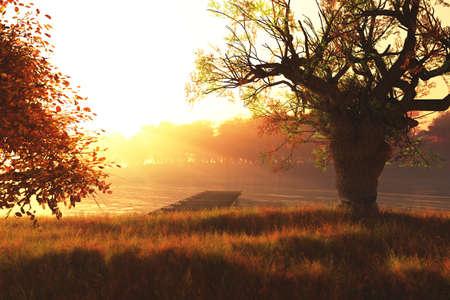 Beautiful Autumn Nature Scene 3D render Stock Photo - 17168636