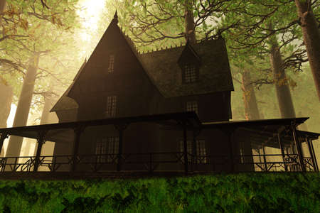 mystique: Scary House in Deep Forest 3D render