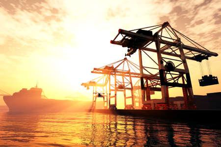 Industrial Port sunset sunrise 3D render Banque d'images