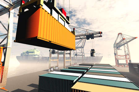 Industrial Port sunset sunrise 3D render Stock Photo
