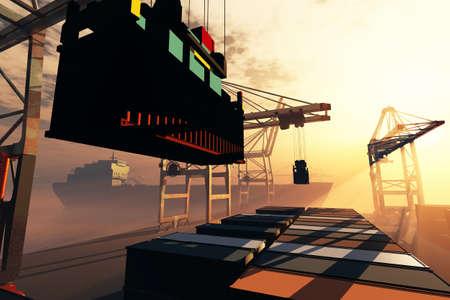 Industrial Port sunset sunrise 3D render Stock Photo