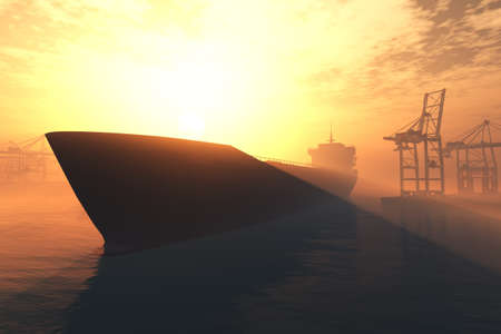 shipping container: Cargo Ship approaching into Industrial Port in sunset sunrise 3D render