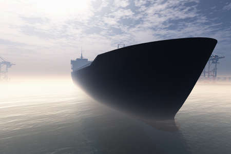 Cargo Ship in Very Foggy Industrial Port 3D render Banque d'images