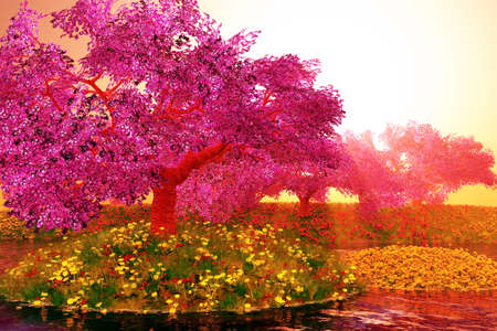 Mysterious Cherry Blossoms Japanese Garden cartoony 3D render Standard-Bild