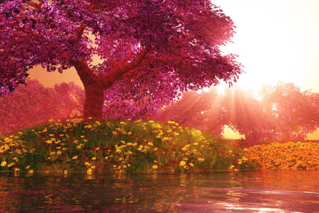 Mysterious Cherry Blossoms Japanese Garden cartoony 3D render Stock Photo
