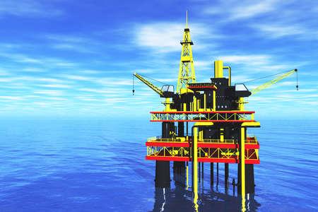 plataforma: Oil Platform en el render Sea 3D