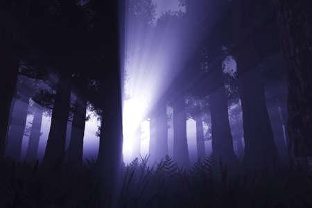 ghostlike: Supernatural Activites in Deep Dark Night Forest 3D render