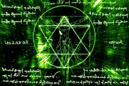 Inspired by Leonardo Da Vinci s The Vitruvian Man - Vitruvius and mirror writing Stock Photo - 17168597