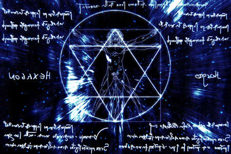 Inspired by Leonardo Da Vinci s The Vitruvian Man - Vitruvius and mirror writing Stock Photo - 17168584