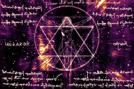 Inspired by Leonardo Da Vinci s The Vitruvian Man - Vitruvius and mirror writing Stock Photo - 17168591