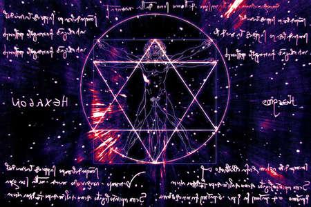 Inspired by Leonardo Da Vinci s The Vitruvian Man - Vitruvius and mirror writing Stock Photo - 17168586