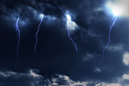 meteorological: Thunderstorm Lightnings Stock Photo