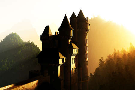 Castle in the sunset sunrise in the Mountains 3D render Stock Photo - 17168567