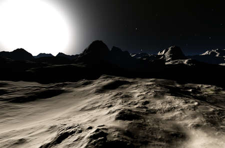moon  desert: Another Planet 3D render Stock Photo