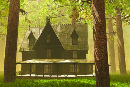 Scary House in Deep Forest 3D render photo
