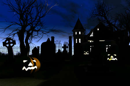 Halloween Cemetery 3D render