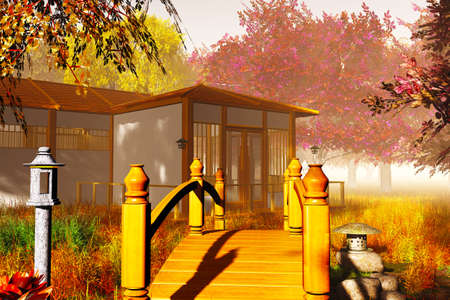 Traditional Japanese House and Bridge in Japanese Garden 3D render Banque d'images
