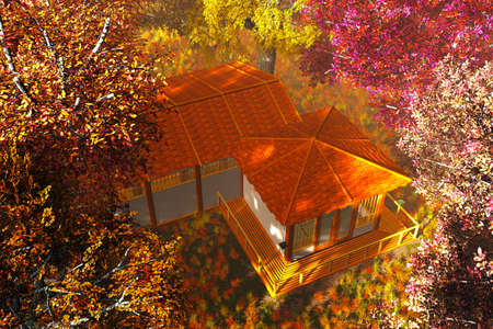 mystique: Traditional Japanese House and Bridge in Japanese Garden 3D render Stock Photo