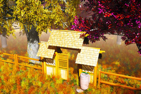 Traditional Wooden Gate in Japanese Garden 3D render photo