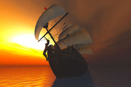 Cutter in the Sea in the Sunset Sunrise 3D render photo