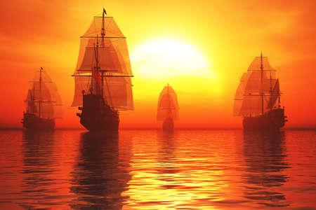Old Battleship Fleet in the Sea in the Sunset Sunrise 3D render Banque d'images