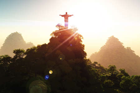 rio: Corcovado Mountain in the Sunset