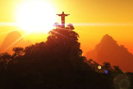 Corcovado Mountain in the Sunset
