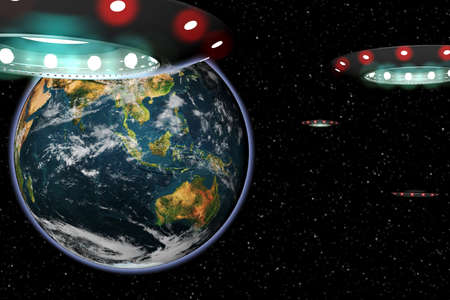 invasion: UFO invasion Earth from Space Stock Photo