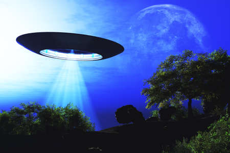 Ufo Flying on Earth at Night over Field Stock Photo - 18232494