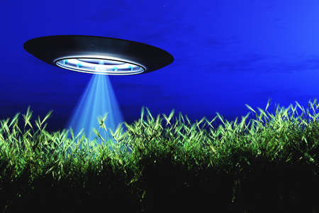 Ufo Flying on Earth at Night over Field Stock Photo - 18232507