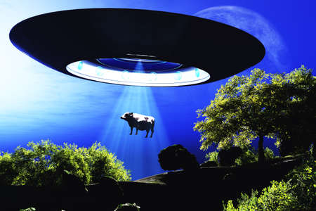 Ufo Flying on Earth at Night over Field Stock Photo - 18232505
