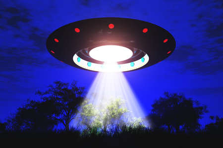 Ufo Flying on Earth at Night over Field Stock Photo