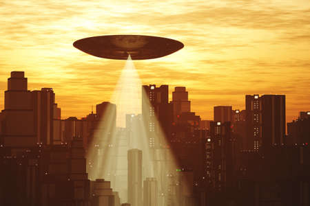 Ufo Flying on Earth at Night over Field Stock Photo - 18232380