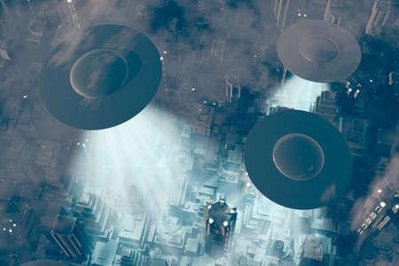 platillo volador: Ufo Flying en la Tierra en la noche sobre el campo
