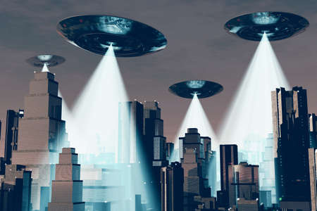 Ufo Flying on Earth at Night over Field Stock Photo - 18232496