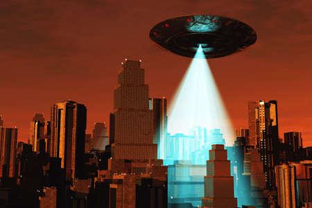 x files: Ufo Flying on Earth at Night over Field Stock Photo