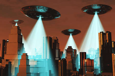 space invader: Ufo Flying on Earth at Night over Field Stock Photo