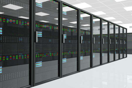database server: CPU Server Unit Room Stock Photo