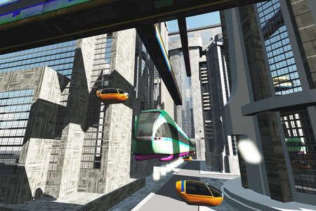 Futuristic City Transportation Concept 3D artwork