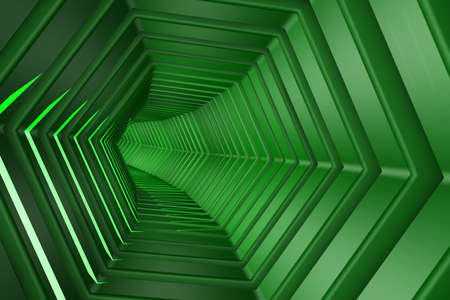 continuum: Hexagon Tunnel 3D illustration