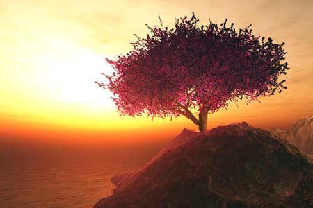 Lonely Cherry Tree on Seaside Rocks 3D artwork
