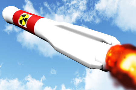 judgement day: Nuclear Rocket on Target Stock Photo