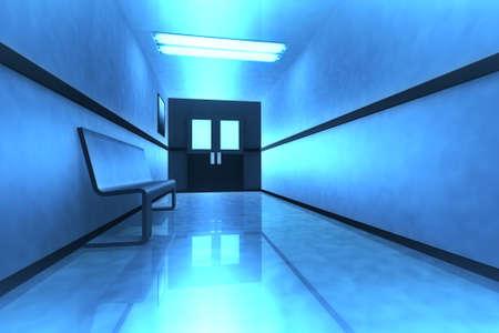 hospital corridor: Scary Horror Hospital Corridor Stock Photo