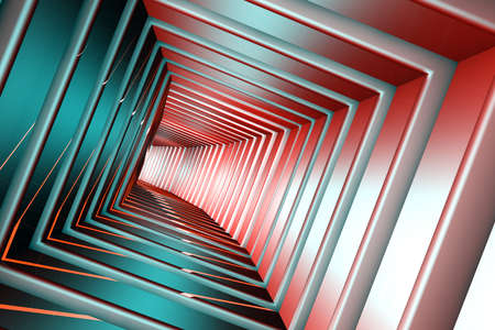 continuum: Square Tunnel 3D Illustration Stock Photo
