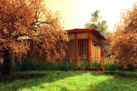 japanese garden: Cherry Blossoms Japanese Garden 3D artwork