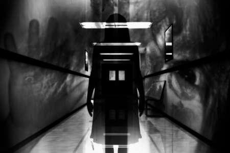 Scary Horror Hospital Corridor Stock Photo