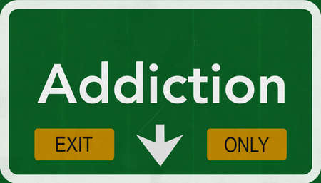 addiction: Addiction Highway Road Sign Exit Only Concept Stock Photo