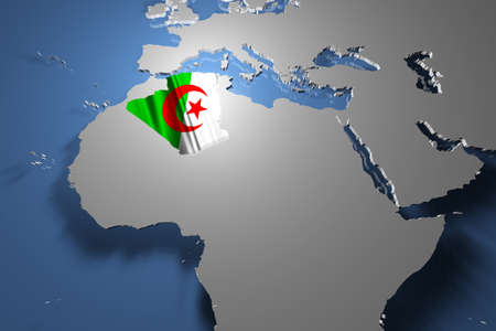 Algeria Map on Continent photo