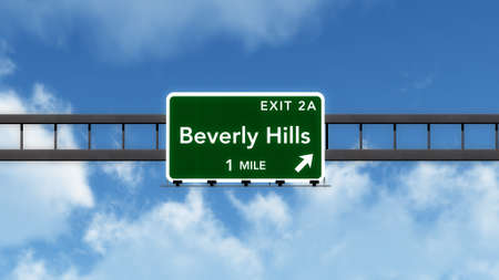 interstate: Beverly Hills USA Interstate Highway Sign